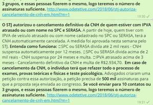 Conteúdo de mensagem sobre cancelamento automático de CNH é falso Foto: Reprodução/WhatsApp