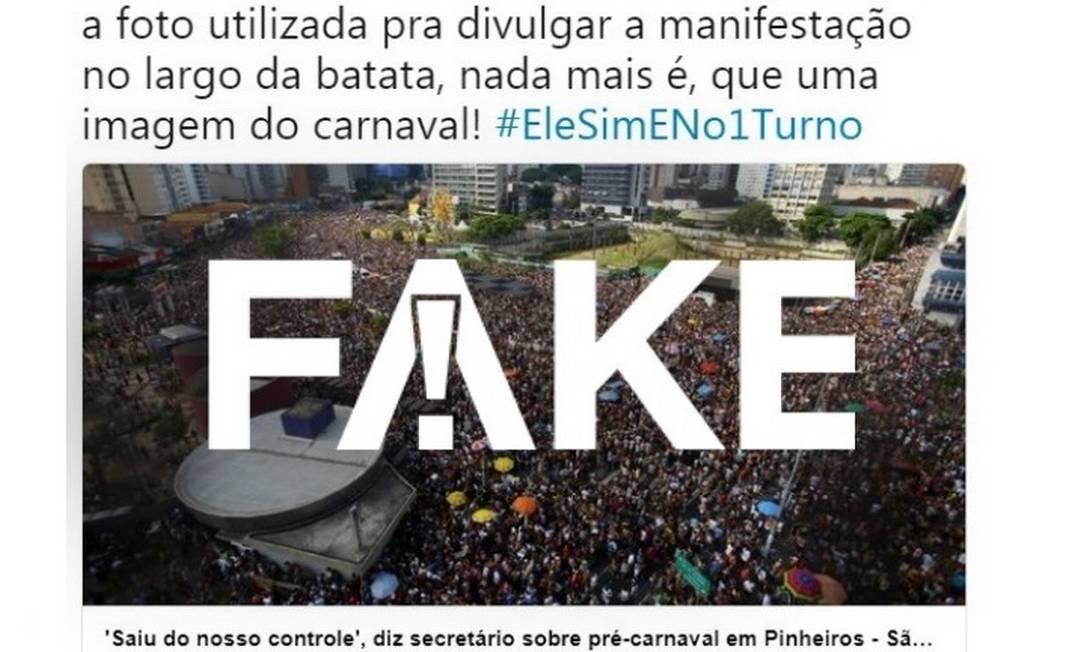 Post afirma que imagens de ato contra Bolsonaro são de 2017, mas informação é #FAKE Foto: Reprodução/ Redes sociais