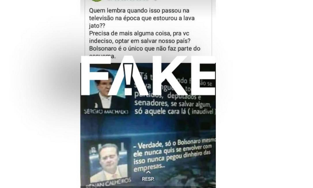 Montagem apresenta diálogo #Fake entre Sérgio Machado e Renan Calheiros com elogios a Bolsonaro Foto: Reprodução