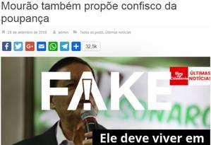 General Mourão, vice candidato à Presidência na chapa de Jair Bolsonaro (PSL), não disse que iria confiscar a poupança Foto: Reprodução