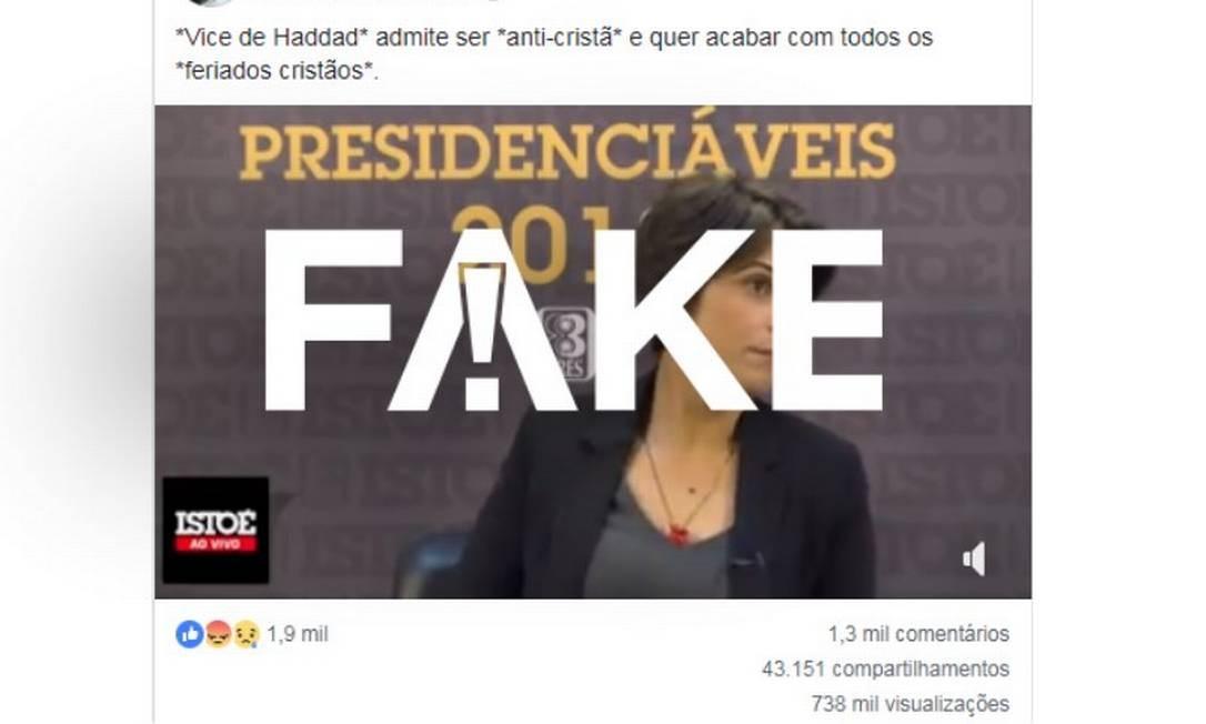 Publicação falsa sobre Manuela D'Ávila Foto: Reprodução