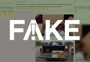 Mensagem que diz que urnas foram apreendidas é falsa Foto: Reprodução
