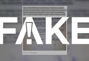 Mensagem que diz que haverá censura no 2º turno é #FAKE Foto: Reprodução