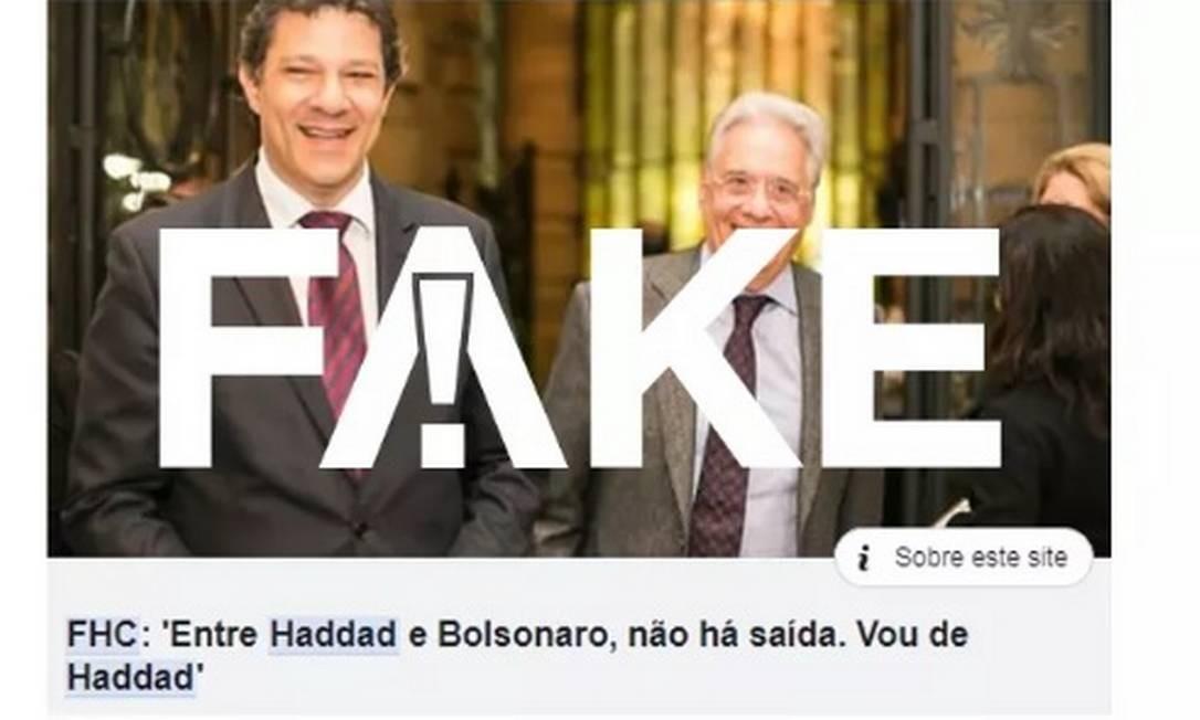 É #FAKE texto que diz que FHC declarou voto em Haddad Foto: Reprodução