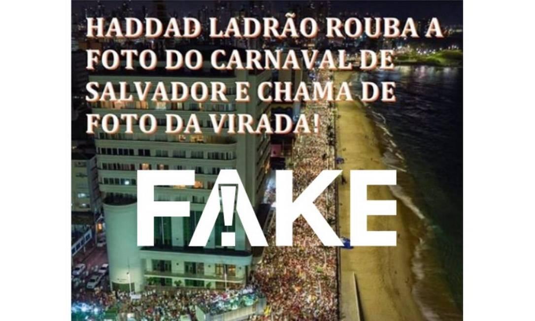 Imagem não foi roubada do carnaval e realmente foi tirada durante manifestação pró-Haddad Foto: Reprodução