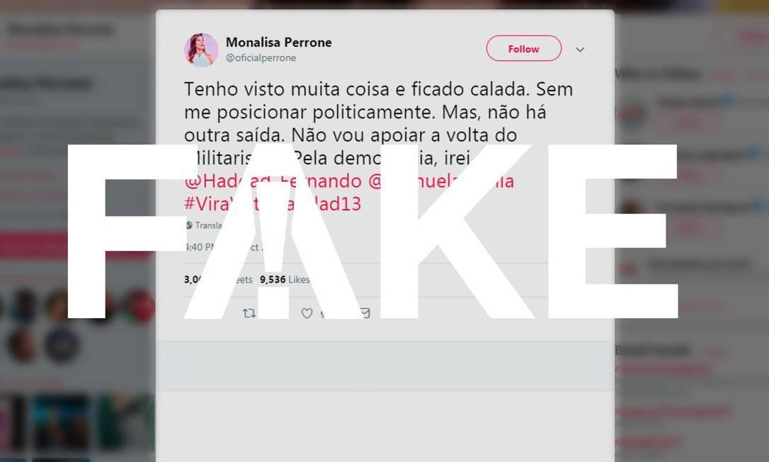 Monalisa não tem perfis nas redes sociais e não declarou apoio público a nenhum candidato Foto: Reprodução
