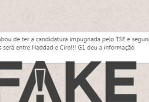 Mensagem que diz que candidatura de Bolsonaro foi impugnada é #FAKE Foto: Reprodução