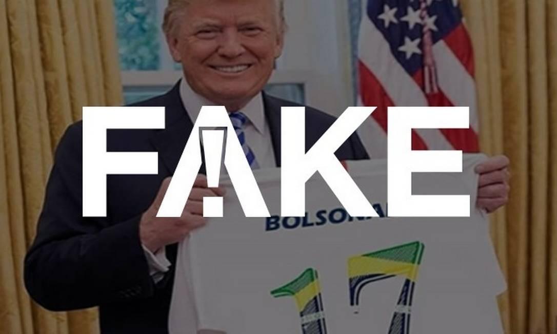 Imagem Fake de Trump com camiseta pró-Bolsonaro Foto: Reprodução