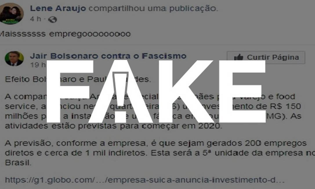 Notícias de setembro circulam no WhatsApp como se tivessem ocorrido após a eleição de Bolsonaro Foto: Reprodução