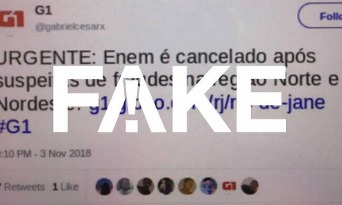 Mensagem que circula nas redes sociais é falsa Foto: Reprodução