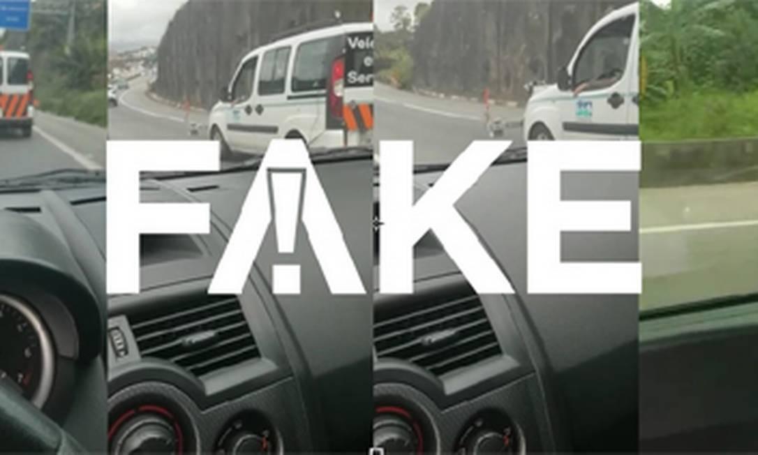 É #FAKE que carro de engenharia aplica multas na Raposo Tavares Foto: Reprodução
