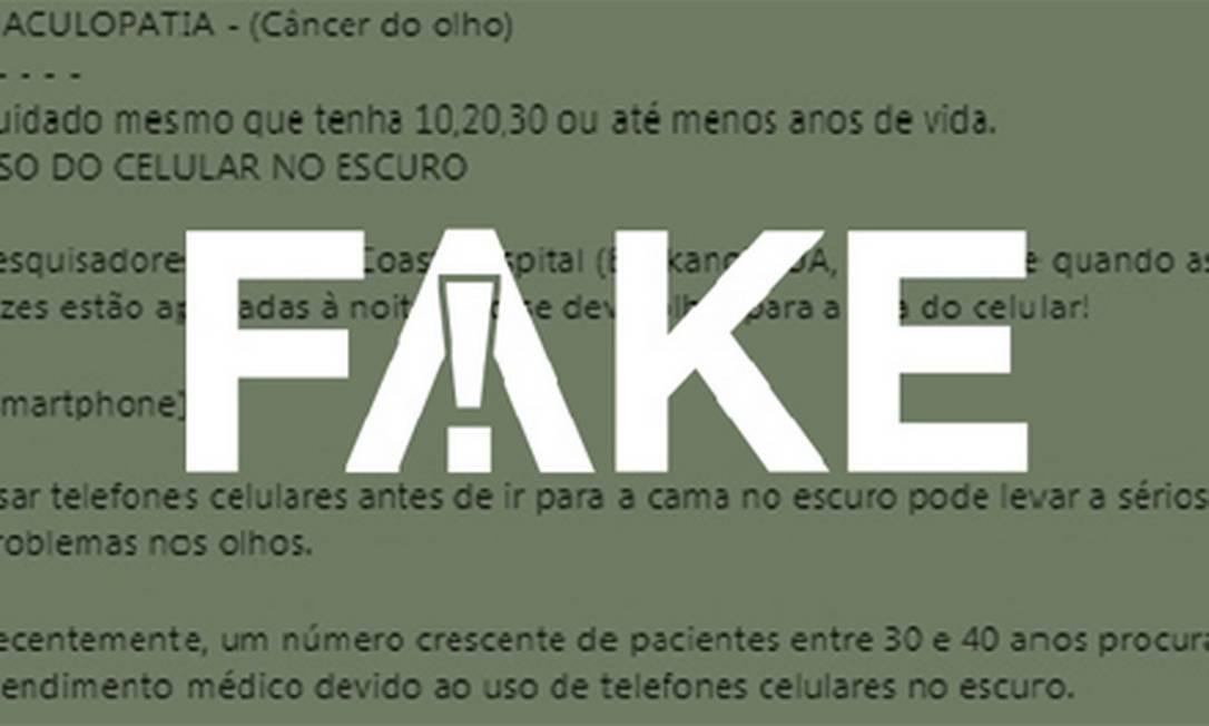 Mensagem que circula no WhatsApp é #FAKE Foto: Reprodução