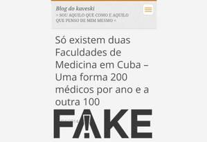 Texto de 2014 com dados falsos sobre formação de médicos em Cuba voltou a circular após saída do país do programa Mais Médicos Foto: Reprodução