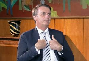 Presidente Jair Bolsonaro durante primeira entrevista após a posse Foto: Reprodução/SBT