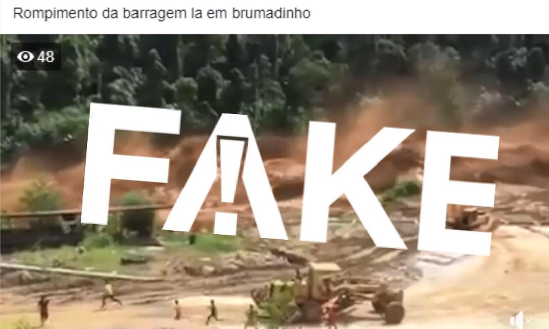 Vídeo de rompimento de barragem no Laos em 2017 também foi compartilhado em atribuição à tragédia de Brumadinho Foto: Reprodução/Facebook