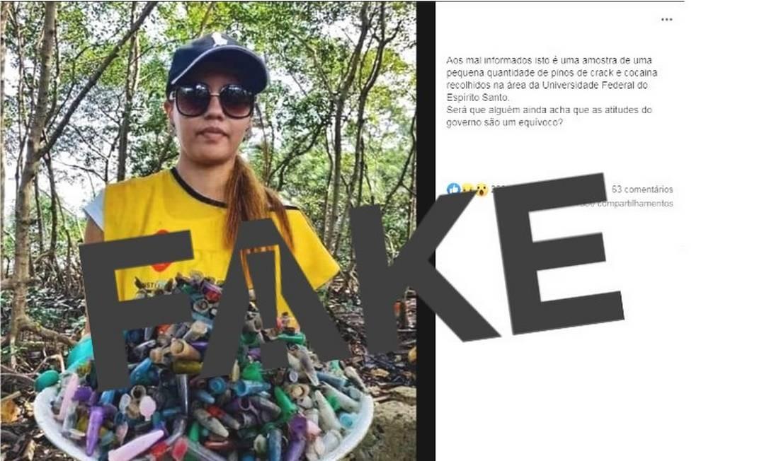 Foto de voluntária segurando 'pinos de cocaína' foi tirada durante ação em mangue localizado em Santos (SP) Foto: Reprodução