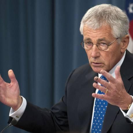 Secretário de Defesa, Chuck Hagel, em coletiva sobre ataque contra base militar em Washington Foto: ROD LAMKEY / AFP