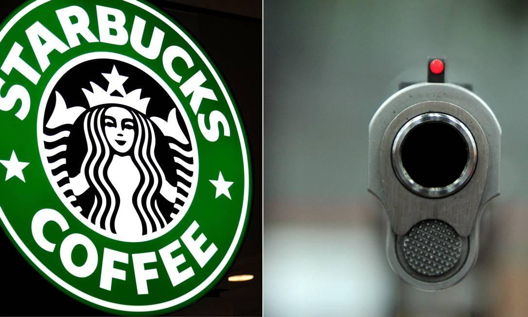 Combinação de imagens com o logotipo da empresa e uma arma: Starbucks pede que clientes não entrem armados Foto: KAREN BLEIER / AFP