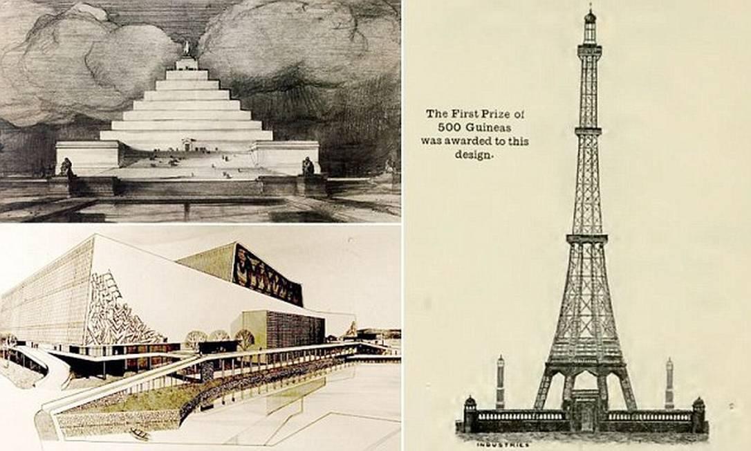 Memorial Lincoln em pirâmide, Opera House retangular e uma Torre Eiffel em Londres foram algumas das propostas no passado Foto: DailyMail
