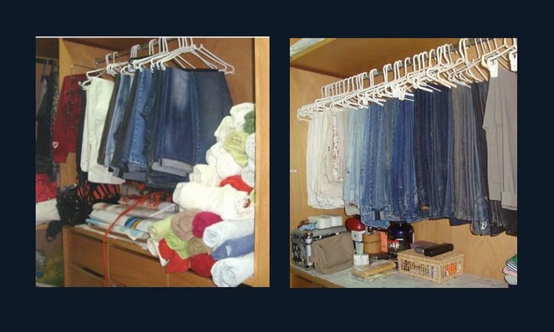 Ao invés de duas ou mais calças por cabide e tudo jogado dentro do guarda-roupas, prefira pendurar cada calça separadamente e usar caixas para organizar o que fica embaixo Foto: Priscila Saboia