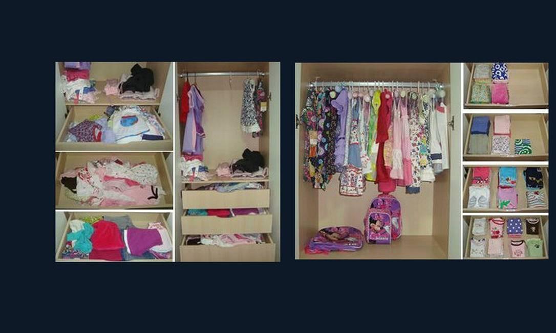 Armário de criança organizado facilita a vida dos pais e muito. Pendure os casaquinhos e vestidos na arara e guarde as calças, meias e blusinhas dobradas na gaveta Foto: Priscila Saboia