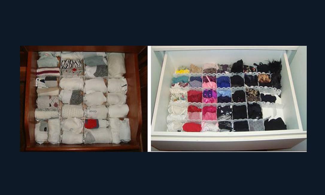 Sugestão de Priscila Saboia para guardar meias e calcinhas: enrole e faça divisórias na gaveta Foto: Divulgação