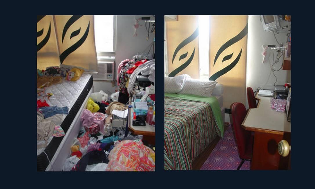 Este é o antes e o depois de um quarto que a personal Samantha Stofel foi chamada para ajudar a organizar Foto: Divulgação