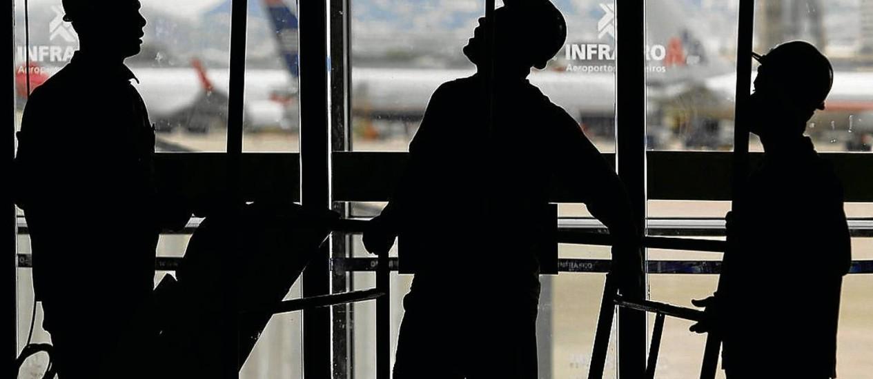 Galeão. No Terminal 1 (acima), só 34% das obras foram concluídos; no Terminal 2, 36,6% Foto: FOTOS DE Gustavo Miranda