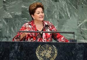 A presidente Dilma Rousseff fala na ONU em setembro de 2012: um ano depois, a espionagem americana será o assunto dominante do discurso na abertura da 68ª Assembleia Geral nesta terça-feira Foto: JOHN MOORE/AFP/25-09-2012