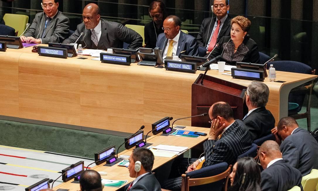 Dilma Rousseff durante mesa de abertura do Foro Político de Alto Nível sobre Desenvolvimento Sustentável Foto: R.Stuckert Filho / Presidência da República