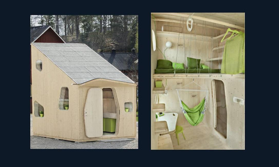 Moradia para estudante vista de fora e por dentro, com sala, banheiro e espaço para dormir no alto Foto: ArchDaily/Bertil Hertzberg/Tengbom