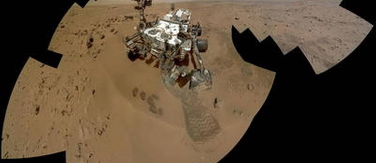 Colagem de imagens obtidas em Marte mostram o Curiosity Foto: Nasa