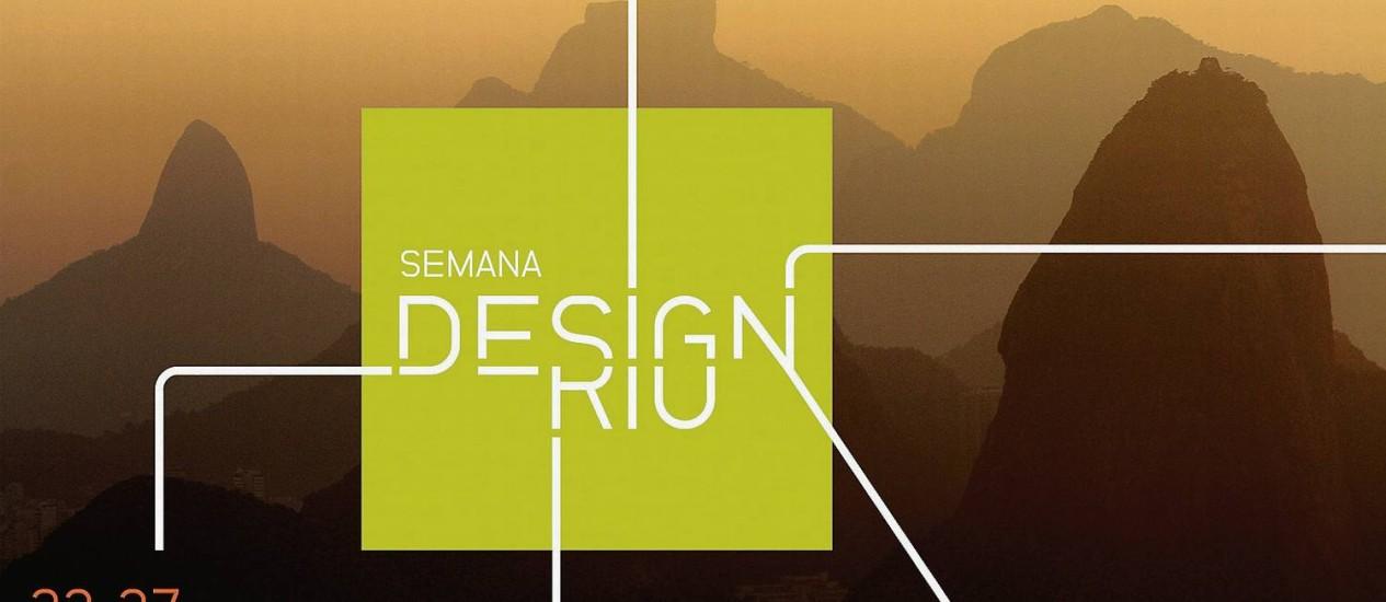 Identidade visual do evento, criação da Crama Design, traz o conceito simples de que 'todos os caminhos do design levam ao Rio' Foto: Divulgação