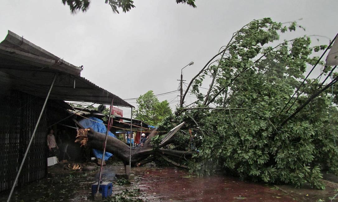 Pessoas se abrigam após a queda de uma árvore pelas fortes rajadas de vento em Ha Tinh, no Vietnã Foto: STR / AFP