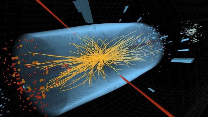 Imagem mostra a representação da colisão de prótons na experiência pela busca do bóson de Higgs Foto: AP