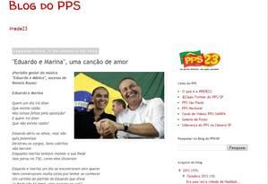 """Sátira de """"Eduardo e Marina, uma canção de amor"""" publicada no blog do PPS Foto: Reprodução"""