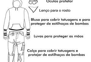 A vestimenta correta nos protestos, afirma site, inclui lenço, óculos de proteção e luvas Foto: Reprodução