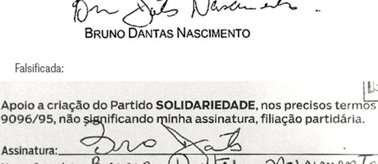A assinatura verdadeira de Bruno Dantas (a de cima) e a falsificada (a de baixo) na ficha do Solidariedade, certificada por um cartório eleitoral: falsificação grosseira Foto: Reproduções