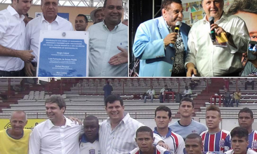 Pré-candidatos em três momentos: Pezão (à direita) em uma inauguração; Garotinho com Agnaldo Timóteo; e Lindbergh com o time do Miguel Couto Foto: Reproduções de internet