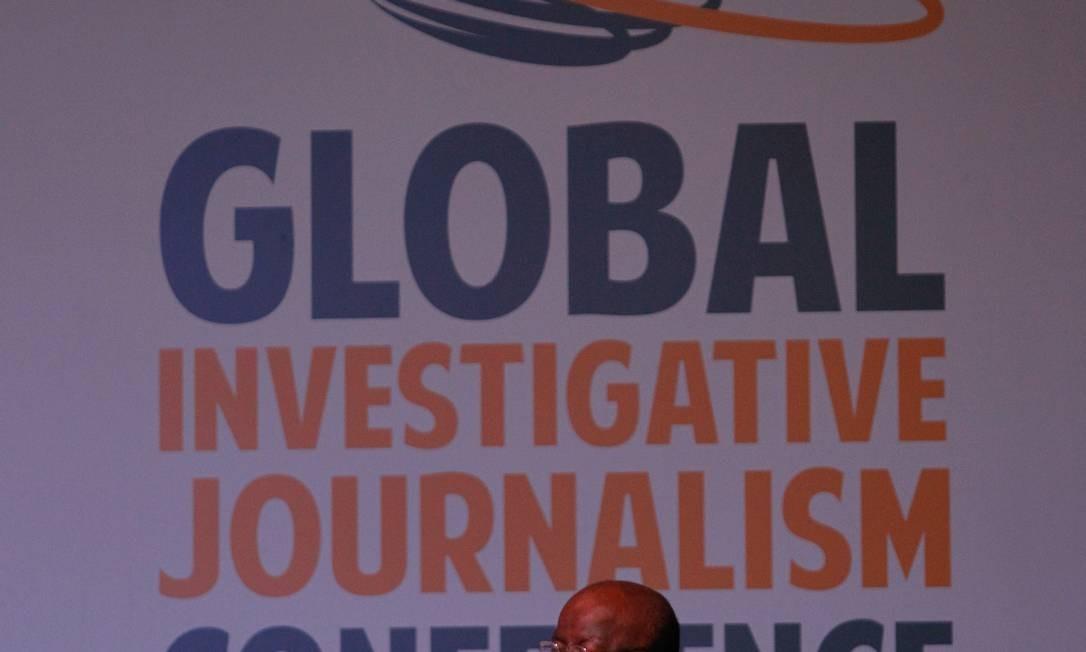 Joaquim Barbosa participa da 8ª Conferência Global de Jornalismo investigativo Foto: Pedro Kirilos / O Globo