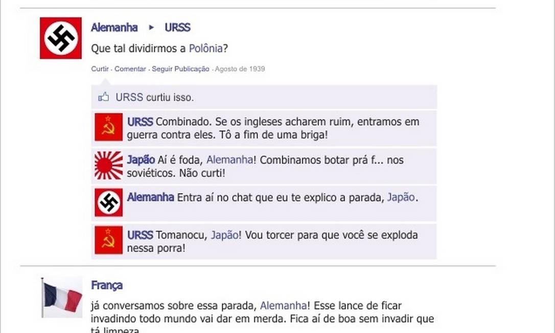 Paulo Alexandre simulou episódios da Segunda Guerra no Facebook Foto: Reprodução