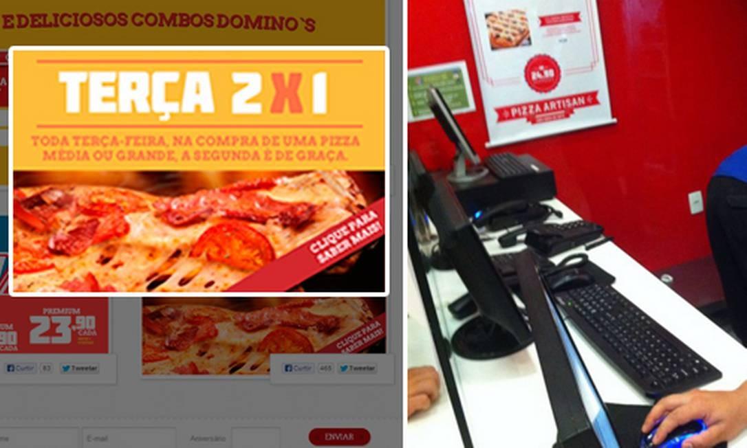 Cartaz da promoção 'Terça2x1' (à esquerda) e o flagrante dos telefones fora do gancho em loja da rede Domino's Foto: Divulgação / Felipe Motta