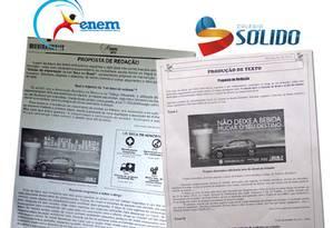 Montagem mostra folha do Enem ao lado de página de exercício proposto por escola particular mineira: mesma imagem Foto: Colégio Sólido