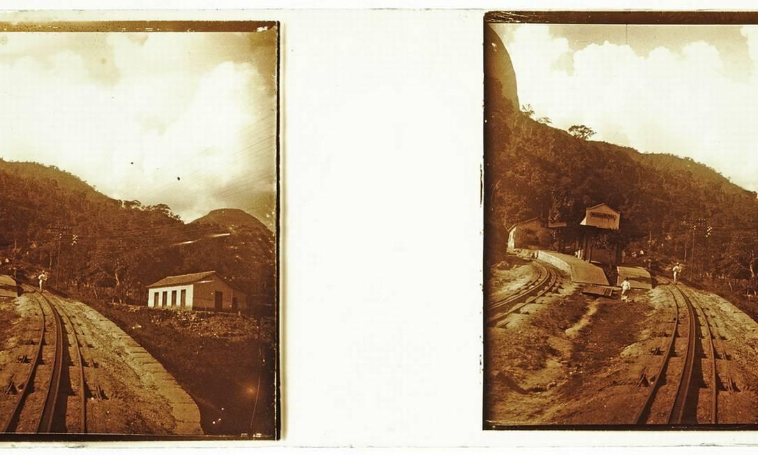 Trecho da Estrada de Ferro Príncipe do Grão Pará, na estação do Meio da Serra e o trilho de cremalheira, em Petrópolis Foto: Acervo do Museu Imperial