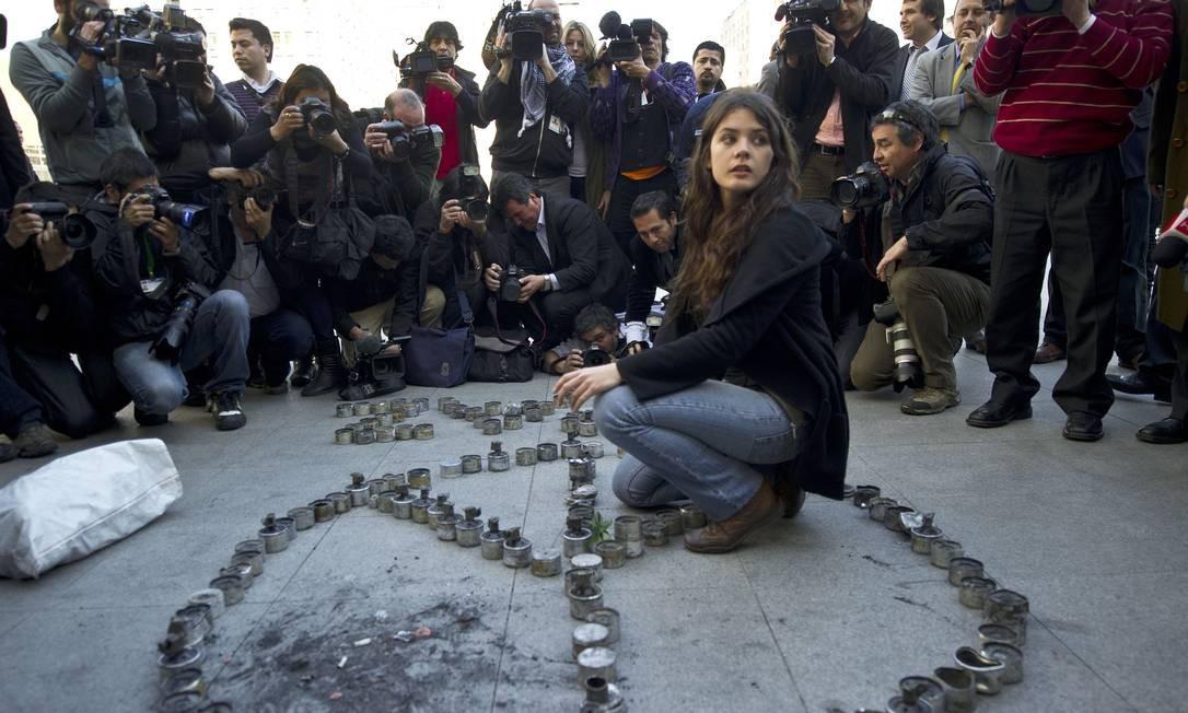 Sua carreira no movimento estudantil começou quando ainda era estudante da Universidade do Chile. Entre os anos de 2010 e 2011 (foto), foi presidente da Federação de Estudantes (FECh) Foto: MARTIN BERNETTI / AFP