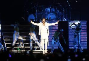 Justin Bieber iniciou show com quase duas horas de atraso, neste domingo, na Apoteose Foto: Paula Giolito / Agência O Globo
