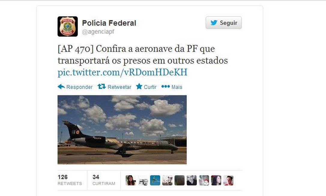 Avião da PF que transportará presos para Brasília Foto: Reprodução