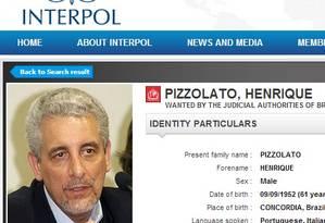 Foto de Henrique Pizzolato está na lista de procurados do site da Interpol Foto: Reprodução internet