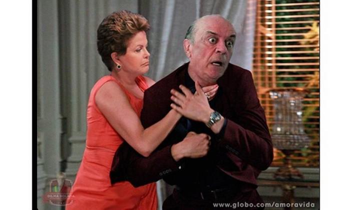 Nesta montagem, a presidente Dilma avança no adversário político José Serra Reprodução da web