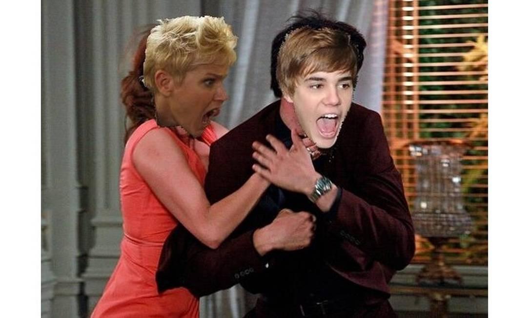 Após criticar atitudes de Justin Bieber na vida real, Xuxa parte para cima do astro canadense nesta brincadeira criada por internautas Reprodução da web